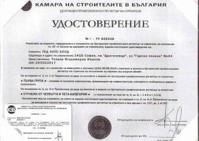 Удостоверение за регистрация I-TV 020338